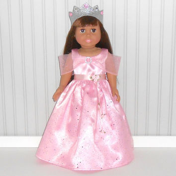 Pink Princess Gown and Crown Halloween Costume Floor Length for !8 inch Girl Dolls American Doll Clothes