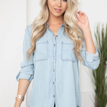 Classic Denim Button Up Top | Light Wash