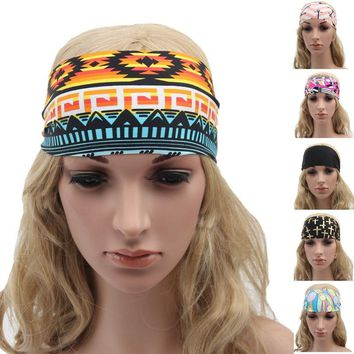 Bohemia Boho Wide Stretch Women Headbands Headpiece Headwrap Turban Headwear Bandage Hair Bands Bandana for Girls Accessories XM