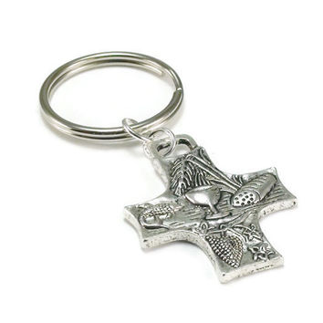 Holy Eucharist Key Chain, Cross Key Chain
