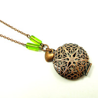 Necklace - Beautiful Filigree Locket and Heart in Antique Copper