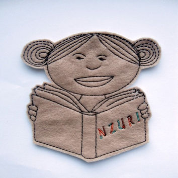 Iron on Patch - Iron On Applique - Black girl reading a book patch - Black girl - African-American