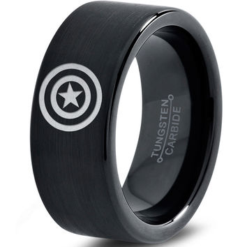 Captain America Inspired Black Tungsten Ring