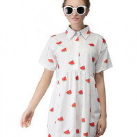 White Polo Watermelon Dress