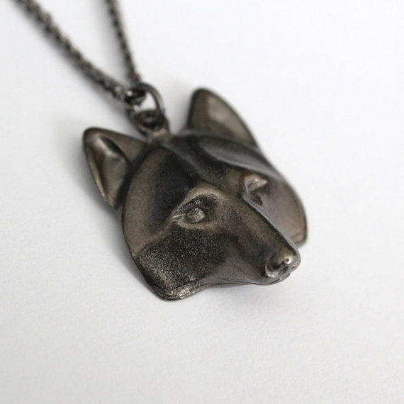 Wolf Mask Pendant Necklace Black From Mrd74 On Etsy