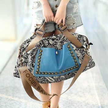 Tote Bag With Rivets and Splice Design