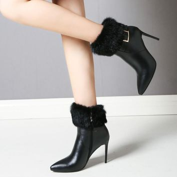 Women's Gorgeous Real Leather Fur Pointed Toe Thin Heels Ankle Boots