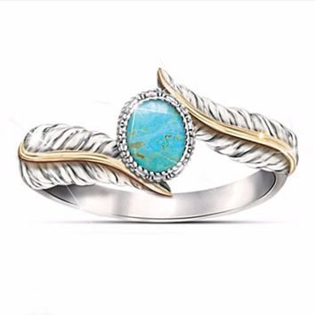 Turquoise Feather Ring  Wedding 6-10