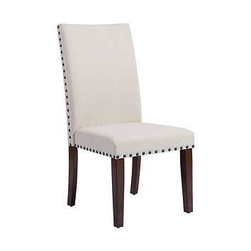 HUDGINS NATURAL LINEN FABRIC WITH BRONZE NAIL HEAD. ACACIA WOOD LEGS IN DARK CHERRY DINING CHAIR
