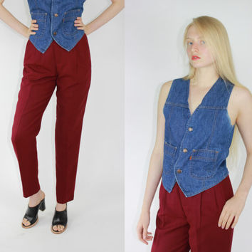 vtg classiques entier japanese slacks red maroon wool pants high rise trousers minimalist burgundy high waisted slacks size 4 SMALL sm s