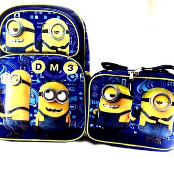 "Minions Despicable Me 3 Boys & Girls 16"" Canvas Backpack w/Insulated Lunch Bag"