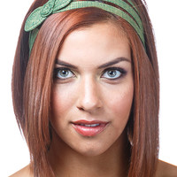 green bow headband, green and gold headband bow headband, headbands for women