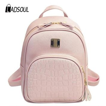 LADSOUL causal women Backpack School Bag For Teenagers girls Crocodile Pattern PU Leather Backpacks Book Bags Small Shoulder Bag
