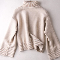 Simple Bell Sleeve Turtleneck Sweater