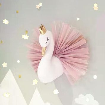Pink Flamingo With Lovely Golden Crown 3D Wall Art