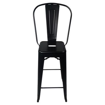 Tolix Style Bar Stool High Back Chair -
