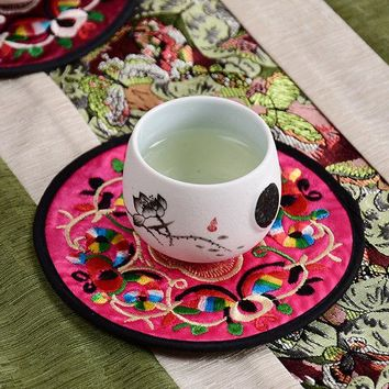 Round Chinese Style Table Pads Cloth Flower Mug Cup Mats Tea Coffee Embroidered Coasters