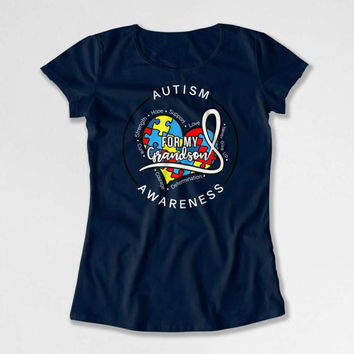 Autism Awareness T Shirt Grandparent Gift Autism T Shirt Grandpa TShirt Grandma Gift Ideas Autistic For My Grandson Mens Ladies Tee DN-676