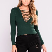 Show A Little More Lace Up Top - Hunter Green