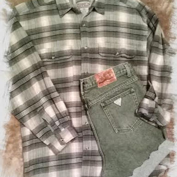 Vintage Outfit Guess High Waist Jean Shorts and Vintage Flannel Outfit- 90s Clothing