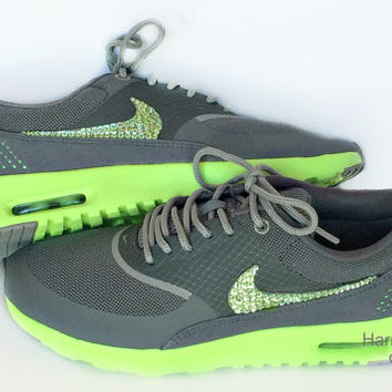 Women's Nike Air Max Thea Premium in Mercury/Flash Lime/Mine Grey w/Swarovski Crystals details