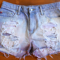 Vintage Ralph Lauren Polo Bleached & Dyed Red White and Blue Ombre High-Waisted Denim Shorts Size 30