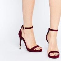 Missguided Barely There Heeled Sandals With Gold Heel