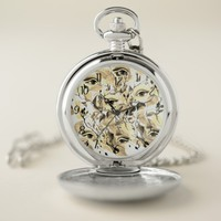 Utopian Sepia Avant-Garde Surreal Eyes Design Pocket Watch