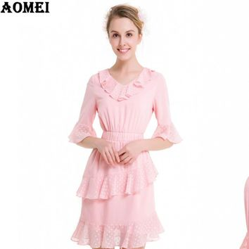 Girls Lolita Pink Color Spring Summer Dress with Ruffles Women Cute Fashion Clothing Robes Casual Dresses Gowns