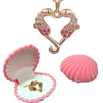 "Girl's Seahorse 18K Rose Gold Plated Heart Pendant with Pink and White Crystals in Shell Jewelry Box, 18"" Chain, Keepsake Card with Seahorse Symbolism"