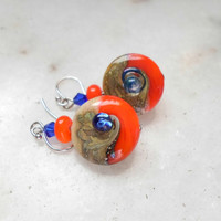 Lampwork Earrings, Handmade Jewelry, Silver Earrings, Long Dangle Earrings, Artisan Handmade Lampwork Jewelry For Her
