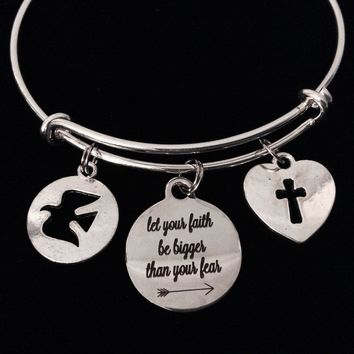 Let Your Faith Be Bigger Than Your Fear Expandable Charm Bracelet Adjustable Bracelet Gift Cross Dove