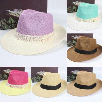 PEAP78W Chic Women Summer Beach Trilby Straw Wide Brim Beach Cap Sun Hat