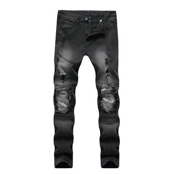 2017 new mens hip hop swag biker jeans true ripped  skinny slim fit famous brand style clothing designer  holes jeans pant