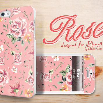 iPhone 5s Case, pink Rose Floral Pattern iPhone 5 Hard Case, iphone 5s Cover with front iphone 5 skin, iPhone hard case