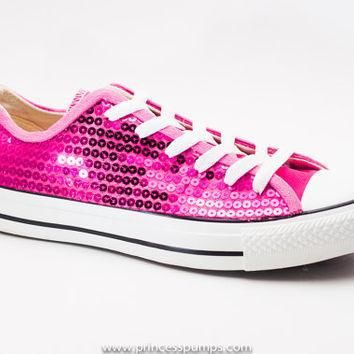 Hot Fuchsia Pink Sequin Canvas Converse Low Top Sneakers