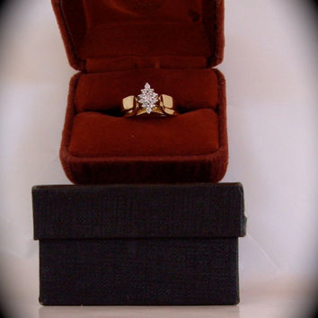 Vintage wedding ring bridal ring gold diamonds 14ct. gold