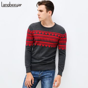2017 New Autumn Winter Fashion Brand Clothing Pullover Mens Sweaters Jacquard Slim Fit Cotton Knitting Patterns Mens Sweaters