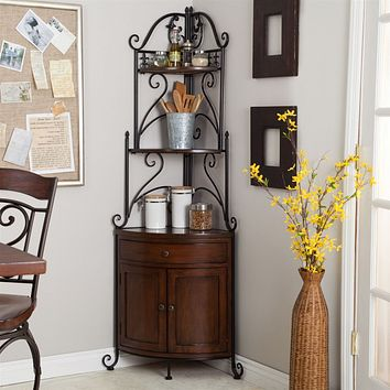 Corner Bakers Rack with Wrought Iron Frame & Wood Storage Shelves