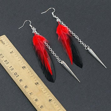 Punk earrings Black earrings Red feathers Witch earrings Ghost Rocker earrings Punk jewellery Silver spike earring Gothic Goth Black and red