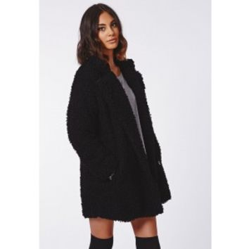 Missguided - Celine Teddy Faux Fur Coat Black
