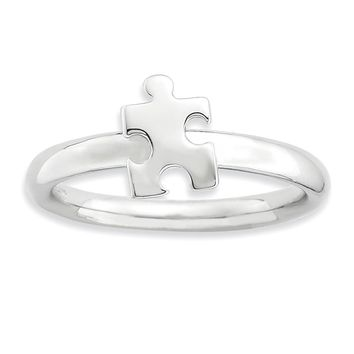 Silver Stackable Puzzle Piece Awareness Ring