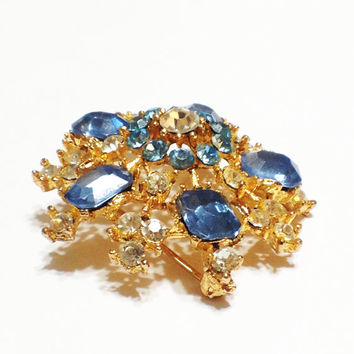 ON SALE Vintage Rhinestone Brooch, Blue, Clear, Gold Plated, Signed, Snowflake, Bridal, 1960s