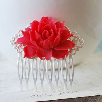 Large Red Rose Flower Matte Silver Filigree Wedding Hair Comb. Vintage Style Bridal Comb, Bridesmaids Gift, Red Themed Wedding Accessory