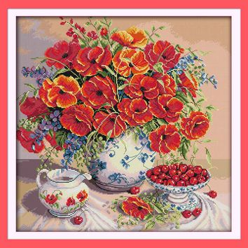 Poppy and Cherry Still Life Canvas DMC Cross Stitch Kits Accurate Printed Embroidery DIY Handmade Needle work Wall Home Decor