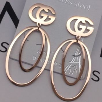 CHANEL x GUCCI Titanium Steel Rose Gold Personality Simple Earrings Allergy Joker Earrings GUCCI