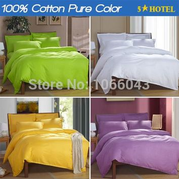 Bedding set 100% Cotton Bed linen Satin Hotel Pure color comforter Bed sets(duvet cover+sheet+pillowcase) edredon ropa de cama