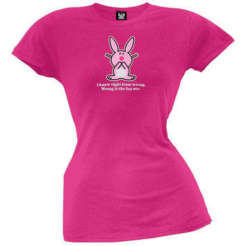Happy Bunny - Right From Wrong Juniors T-Shirt