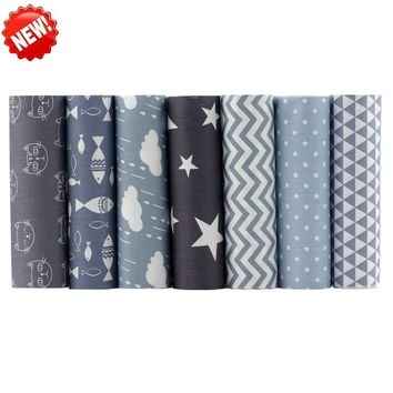 Gray Series Tissus Cotton Fabric Telas Patchwork Fabric Fat Quarter Bundles Fabric For Sewing Doll Cloths 20x25cm 7pcs/lot