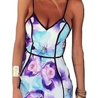 US-Lady Women's Floral Print Jumpsuit Playsuit Rompers